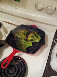 Broccoli Steak, I cook mine on a cast iron stove top grill!!