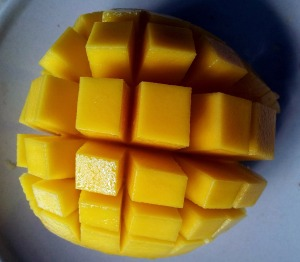 This is how my Husband cuts my mango. He's got Knife Skills!!!